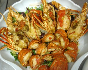 Fried  Menorcan spiny lobster